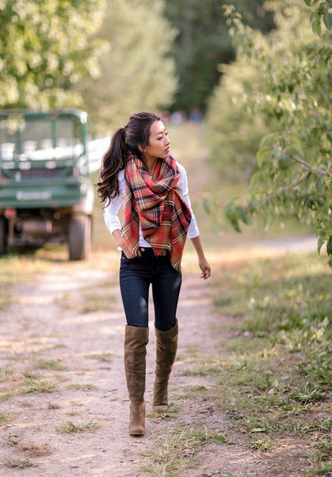 brown over the knee boots, skinny jeans, blanket scarf