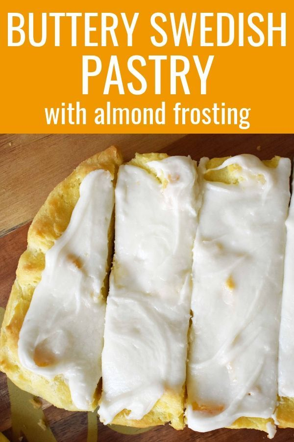 Homemade Buttery Flaky Swedish Pastry With Almond Frosting How