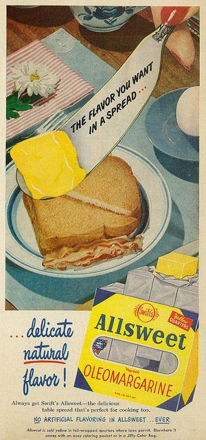 Swift's Allsweet Vegetable Oleomargarine ad, 1952.