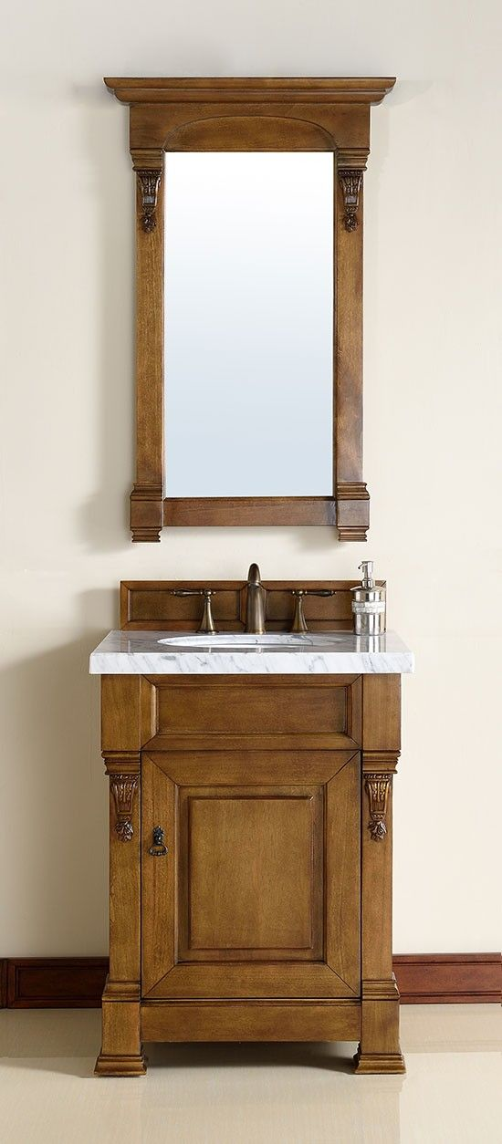 For the powder room with a copper sink and pitcher pump style faucet. James Martin Brookfield (single) 26-Inch Country Oak Transitional Bathroom Vanity With Top Options