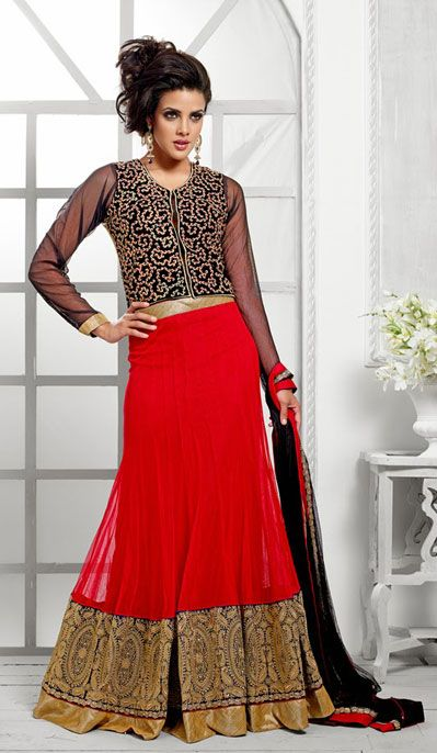 USD 110.35 Red Kalidar Net Party Wear Lehenga Choli  40479