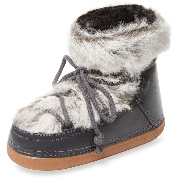 INUIKII Women's Leather & Rabbit Fur Moon Boot - Grey - Size 36 (2 430 SEK) ❤ liked on Polyvore featuring shoes, boots, grey, leather boots, gray short boots, grey leather boots, ankle boots and gray ankle boots