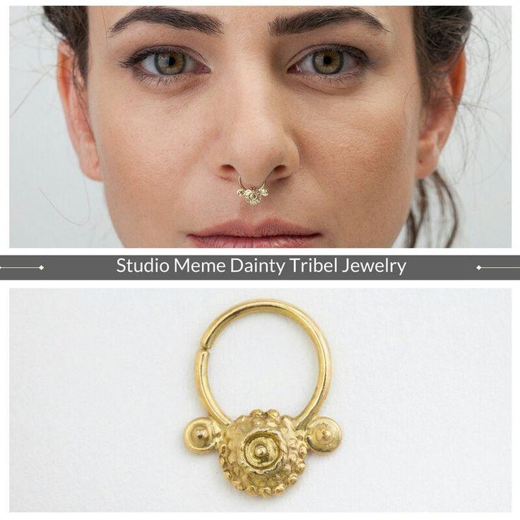 Tribal 14k gold septum ring