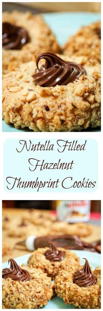 Nutella Filled Hazelnut Thumbprint cookies are quick and easy to make. These cookies have a crunchy roasted hazelnut exterior, a soft cookie interior, and then topped with creamy Nutella | HostessAtHeart.com