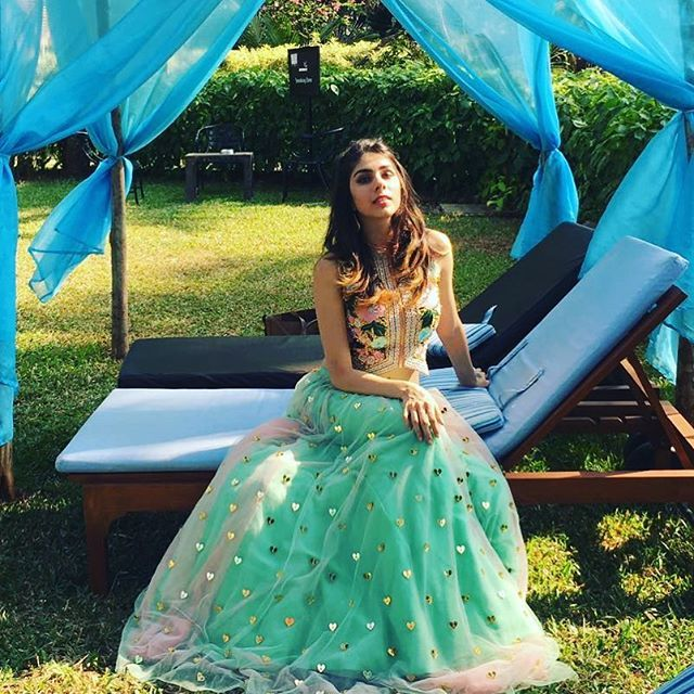 Strike a pose and then one more @shrutisharma95 in our coin and thread work jacket choli with our shaded #hearlit lehenga ofcourse ! #papadontpreach #bridalcouture #lehenga #choli #jackets #jacketcholi