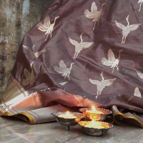 Ecru Grey Pure Katan Silk Banarasi Handloom Saree