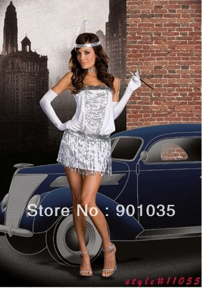 FREE SHIPPING Sexy Halloween Sequin Flapper Girl Costume Dress 20s flapper costume white and sliver color