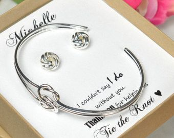 Wedding Gift Ideas The Knot : Gift Box, Bridesmaid Tie the Knot Earrings, Be My Bridesmaid, Bridal ...