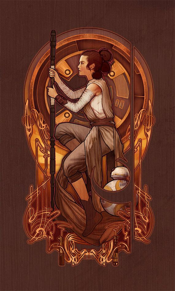 rey nouveau star wars the force awakens 4 x6 lustre art print nerdy and i know it star. Black Bedroom Furniture Sets. Home Design Ideas