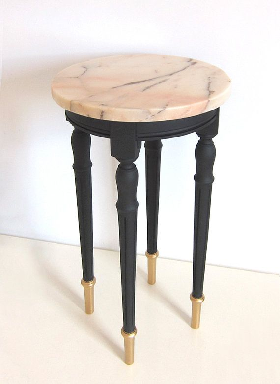 Lovely Vintage Pale Pink Marble Side Table / Restored / Black And Gold  Painted Solid Wood / Round Coffee Table / Accent Table / Black U0026 Pink