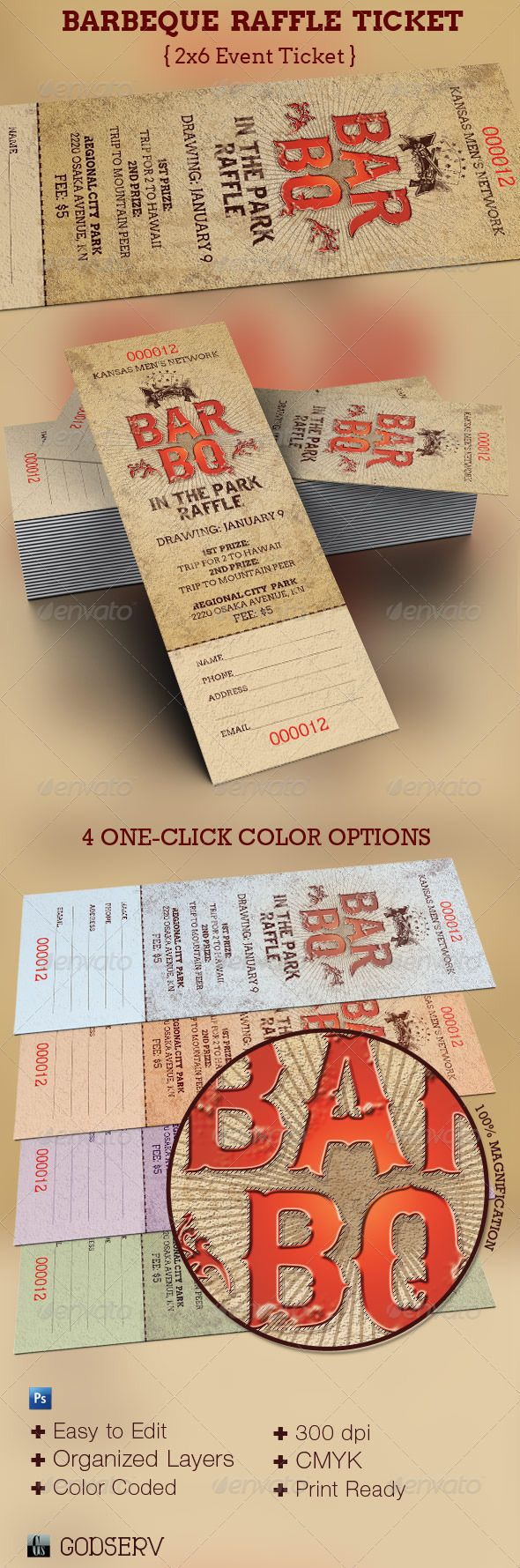 Barbeque raffle ticket template fonts flyer template for Bbq tickets template