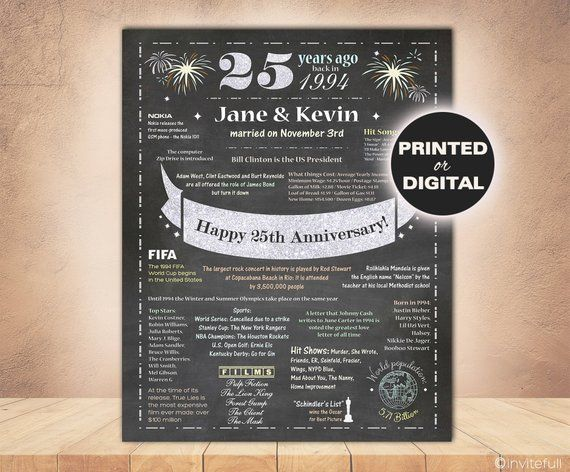 Silver Wedding Anniversary Gifts For Parents: Personalized 25th Anniversary Gift,Parents Anniversary
