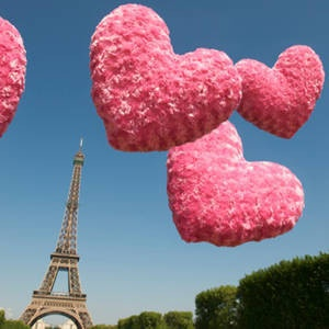 Fuzzy Pink Hearts Float Above Eiffel Tower | Pesky Monkey, iStock Photo