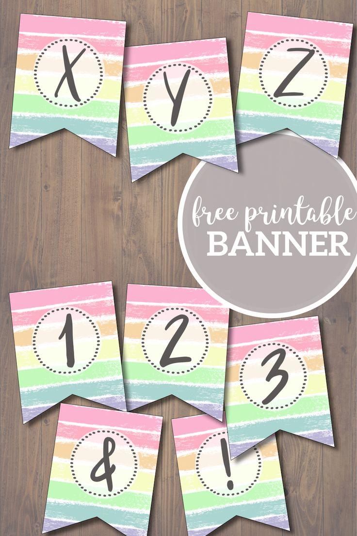 Free Printable Pastel Banner Letters | Diy birthday banner ...
