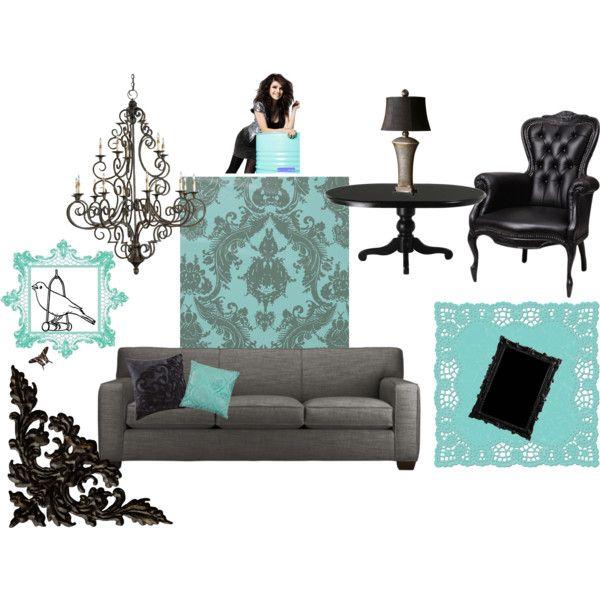 """Aqua/Black Living Room"" by valeriegardner1231 on Polyvore"
