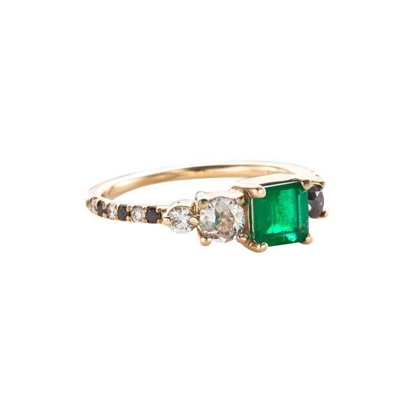 Mociun - Andromeda Emerald Stone Cluster Ring (Now improved with price, $4200) #hoshi