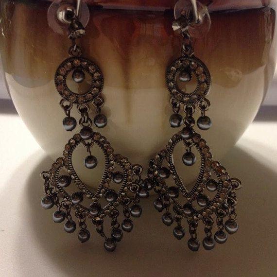 Gunmetal Pearl Chandelier Earrings By Jewelrybyjen18 On Etsy