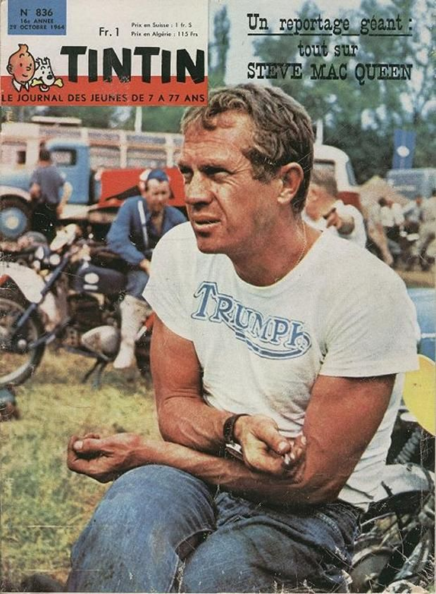 Steve McQueen - triple whammy cover - Tin-Tin, McQueeny and Triumph: how many icons can you get  into one image? Wonder if the jeans are Levis?
