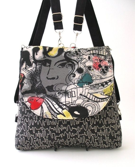 black and white bag zipper bag black backpack by daphnenen on Etsy