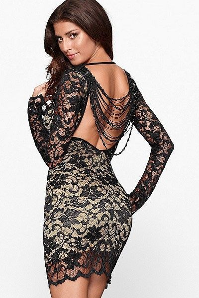 Black Long Sleeve Beading Backless Lace Dress,Get Free Worldwide Shipping with She In Side Coupons.