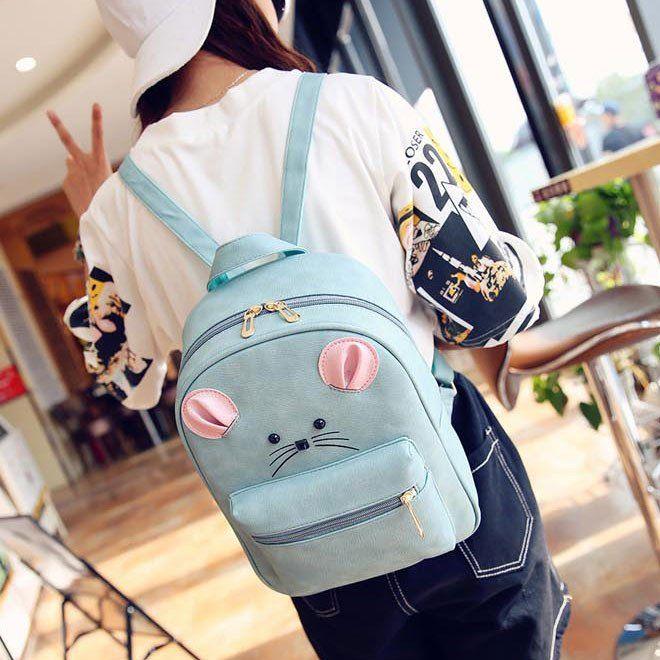 Cartoon Rucksack PU Schoolbag Animal Backpack Gift Clutch #backpack #bow #lace #college #bag #rucksack