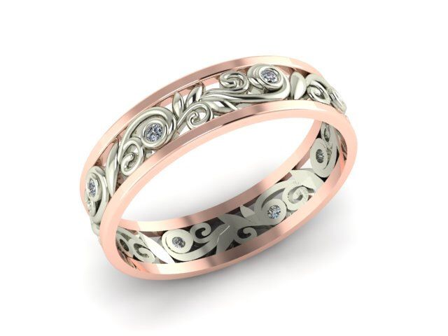 Valentine's Day Romantic Gifts,  Valentine's Day Ring, Filigree 2 tone Bridal band, Wedding Eternity Matching band, Diamond Eternity band by BridalRings on Etsy https://www.etsy.com/listing/242162817/valentines-day-romantic-gifts-valentines
