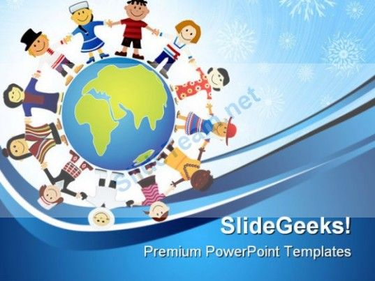 Children Of The World Globe PowerPoint Templates And PowerPoint Backgrounds 0311 #PowerPoint #Templates #Themes #Background