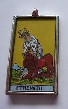 Sterling silver HAND PAINTED Strength Tarot pendant, get yours today on ebay! Extremely limited quantities! http://www.ebay.ca/itm/Tarot-Card-Handpainted-Artisan-Pendant-Sterling-Silver-Strength-/191191820443?pt=Handcrafted_Artisan_Jewelry&hash=item2c83eba89b