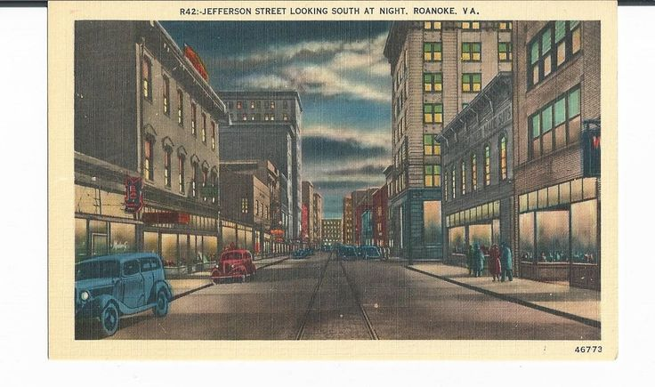 Jefferson Street Looking South at Night Roanoke VA Postcard by COLLECTORSCENTER on Etsy