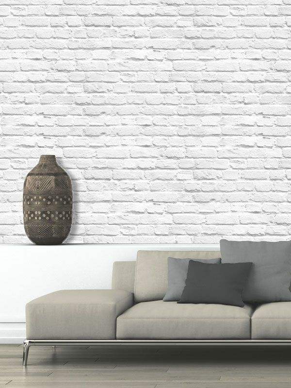 Muriva Painted White Brick Wallpaper   102539 Part 33