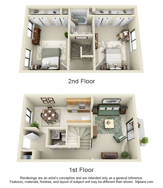 17 best ideas about apartment floor plans on pinterest - 2 bedroom and 2 bathroom apartment ...