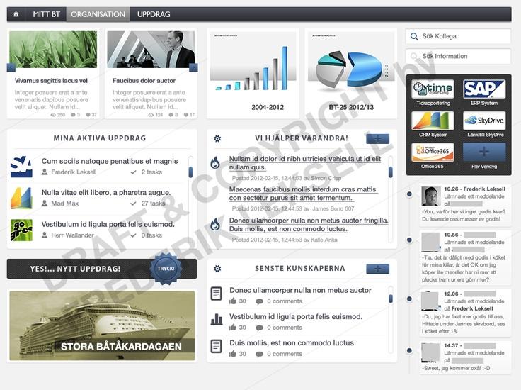 Intranet design draft, SharePoint 2010 OTB mostly