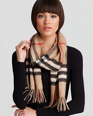 Burberry Giant Check Cashmere Scarf   Bloomingdale's