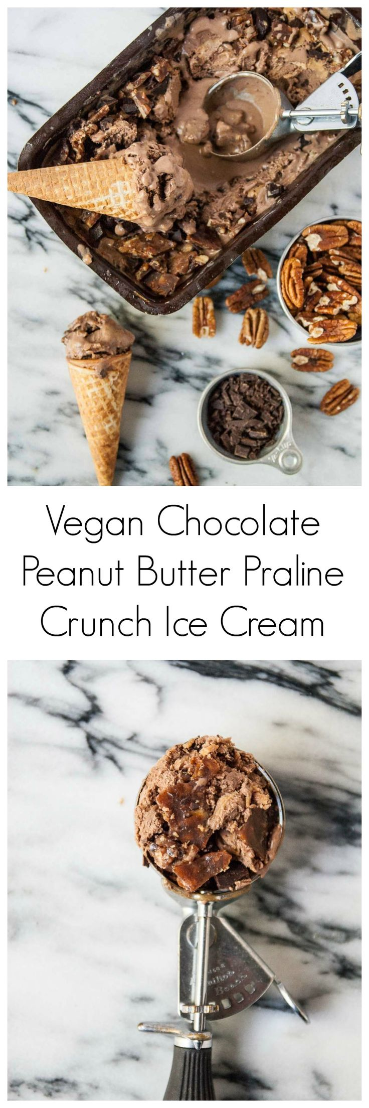 Vegan Peanut Butter Chocolate Praline Crunch Ice Cream- Vegan praline crunch ice cream is kicked up a notch with chunks of chocolate and swirls of creamy peanut butter!