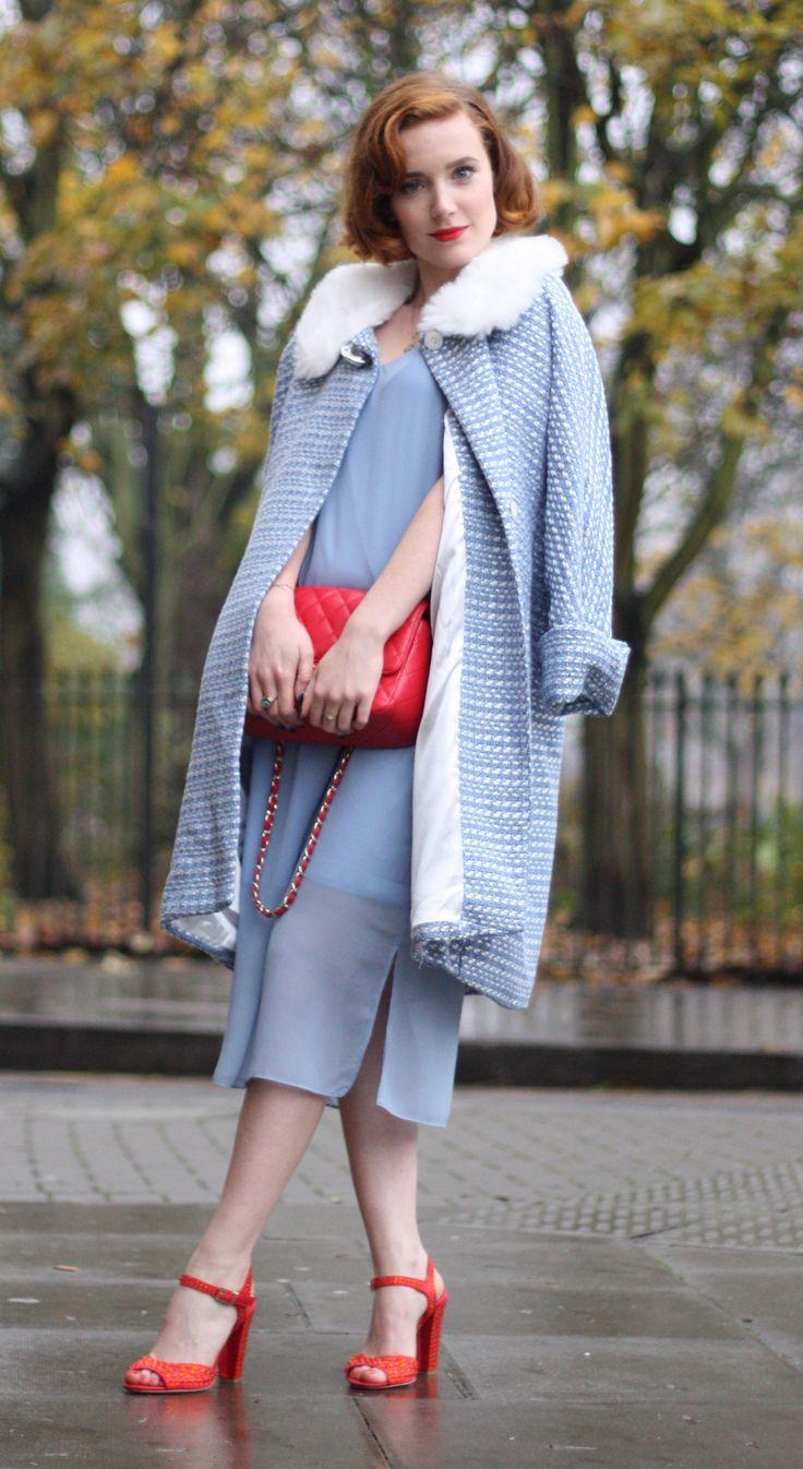 Vintage inspired Street Style, cool Dorothy Tara Starlet Powder Blue Girlfriend Coat, 60s faux fur collar. Red Chanel Bag. Red Dorothy sparkle Carvela Shoes. Blue ASOS slip dress.