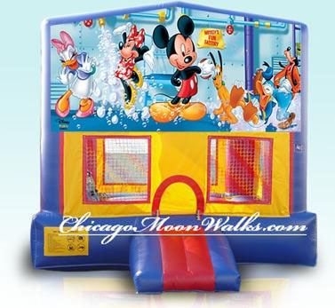 Disney Mickey Mouse Bounce House Rental. Chicago Party Rental in Chicago, IL Illinois & Suburbs. Mickey & Friends Moonwalk is Colorful & Fun. Features Classic Beloved Characters, Mickey Mouse, Minnie Mouse, Donald Duck, Daisy Duck & Goofy. This Jumping Balloon will provide Hours of Fun & Entertainment. Perfect for Boys & Girls Birthday Parties. Kids Party Rentals, Inflatables, Jumpy Rentals Chicago. Reserve yours Today.