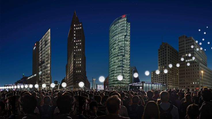 Visualización de LICHTGRENZE en Engelbecken © Kulturprojekte Berlín por WHITEvoid / Christopher Bauder. Fotografía © Daniel Büche. Señala encima de la imagen para verla más grande.