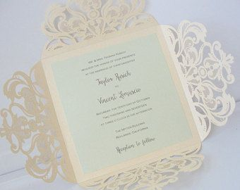Invitación de boda del corte del laser, corte del Laser de cordón servilleta boda invitación, invitación de la boda Bohemia, invitación de boda, FLOURISH - marfil