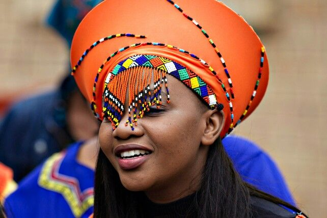 Zulu makoti with her traditional veil