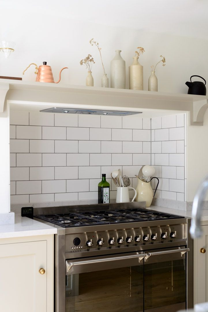A Lovely Big Smeg Opera Range Cooker With Metro Tiled Splashback And A Simple Shaker Shelf By