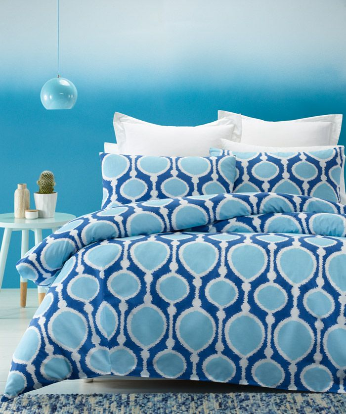 """Contempory bedlinen for your home. The """"Beads quilt cover set, is made from high quality poly/cotton fabric and has a knife edged finished. This modern design in royal blue, sky and white combines quality with innovation for your everyday personal comfort."""