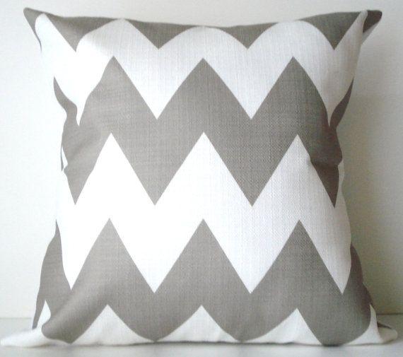 $30 New 18x18 inch Designer Handmade pillow case in $30 warm grey and white chevron