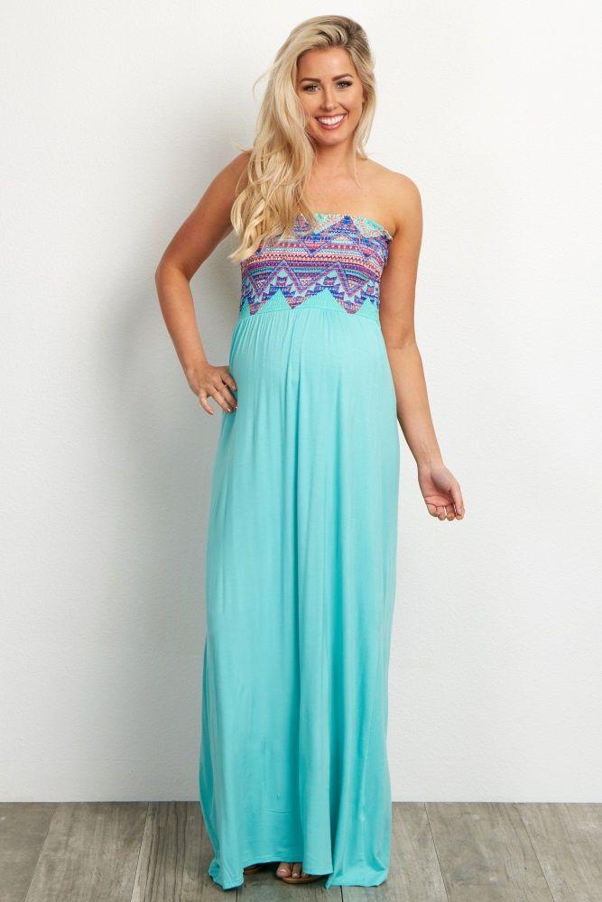 30ee03b175c Mint Green Printed Top Strapless Maternity Maxi Dress