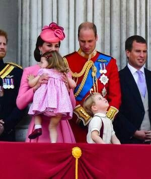 June 20, 2017: The Duke and Duchess of Cambridge with Prince George and Princess Charlotte of Cambridge at the Trooping of the Colour, Buckingham Palace balcony. Not seen this one before. (photo SR)