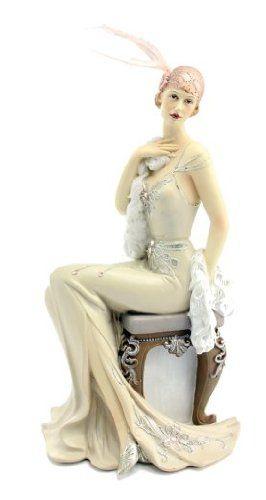 cool Art Deco Charleston Lady Figurine Sitting #LP24030