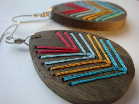 Aspen Embroidered Wood Chevron Earrings Grey Wood by IbbyAndRufus