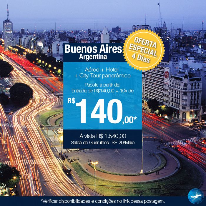 Air from Sao Paulo  3 nights in 3 star hotel (breakfast)  Transfer airport / hotel / airport + panoramic tour of the city.  Service assistance 24 hours  Description: Buenos Aires: a fascinating city, the Paris of Latin America and one of the best business tourism destinations.