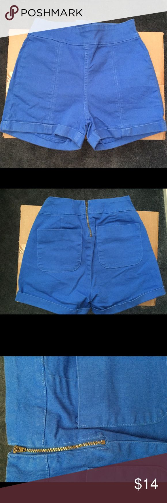 Cobalt blue highwaisted shorts High waisted cobalt blue shorts. Golden zipper and two pockets in the back. Foreign Exchange Shorts