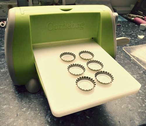 awesome way to flatten bottle caps for crafting...cool bottle cap business cards!