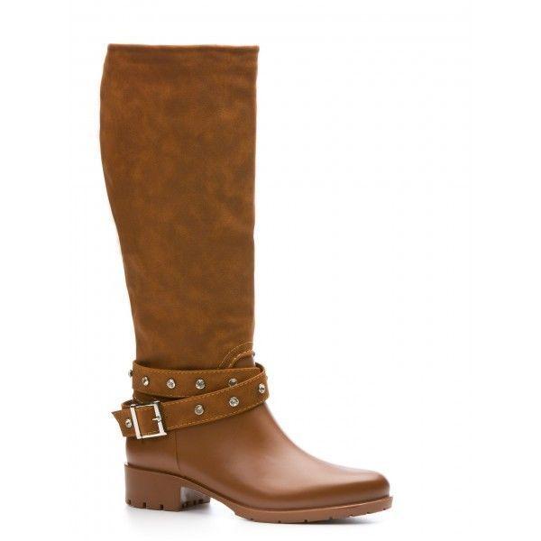 New Women s Wellington Boots Mid Heel Knee High Boots Camel  | eBay